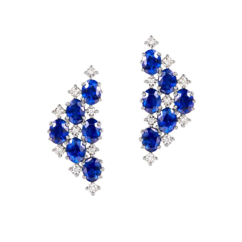 Boucle d oreille Triangle des Bermudes - Saphir, or blanc, diamant
