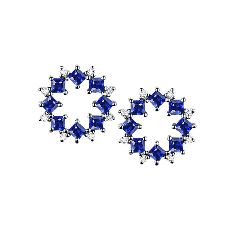 Boucle d oreille fleur de bleuet - Saphir, diamant, or blanc