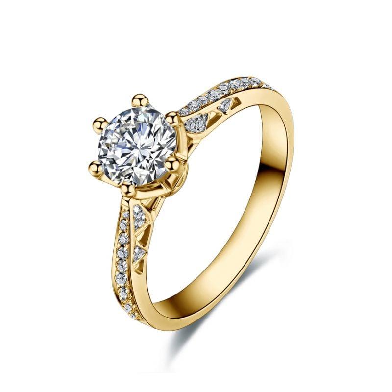 Bague de fiancailles - Diamant solitaire accompagné - Or jaune- Koh-I-Noor