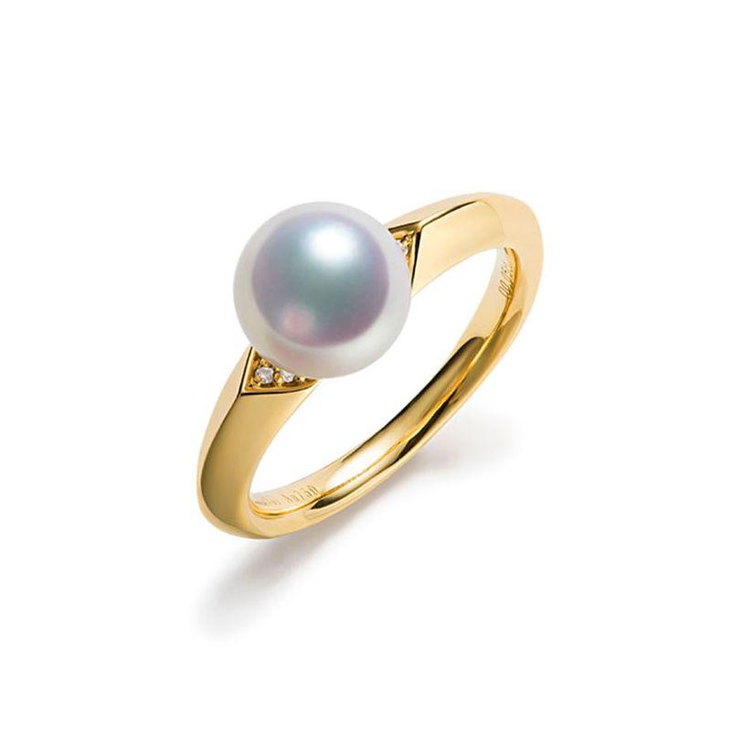Bague Tsuguka - Or jaune, perle Akoya, diamant | Tsuguka