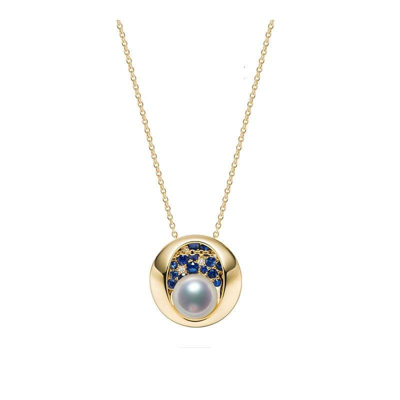 Pendentif constellation seiza I Perle Akoya, diamant, saphir, or jaune