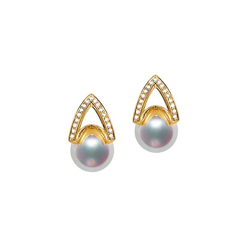 Boucle d oreille or jaune - diamant - Perle Akoya Japon - Masako