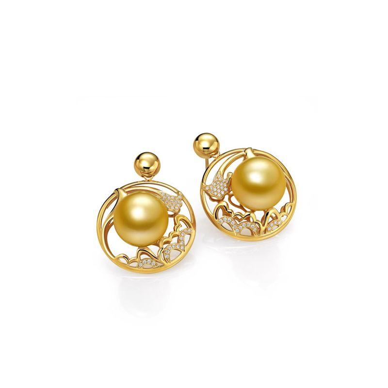 Boucles d'oreilles fleurs de pivoine - Perles d'Australie dorées