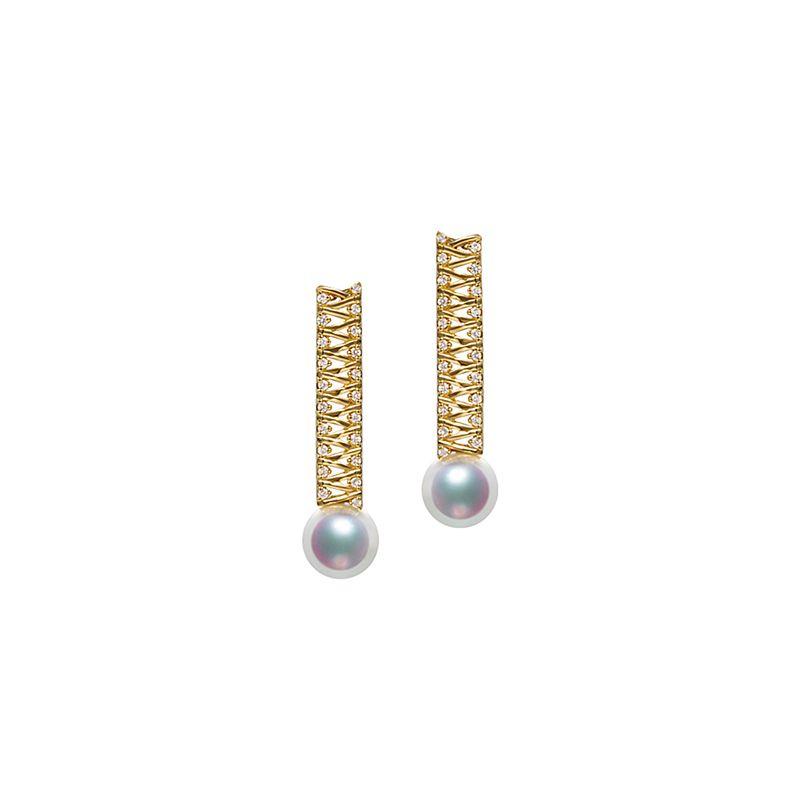 Boucle d oreille perle du Japon. Or jaune, diamant - Hatsune Miku