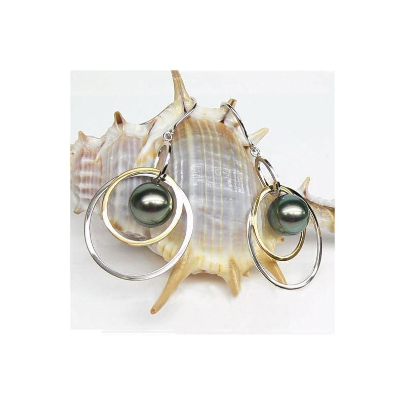 Boucles oreilles en Perles de Tahiti. 2 anneaux or blanc et jaune. Samothrace