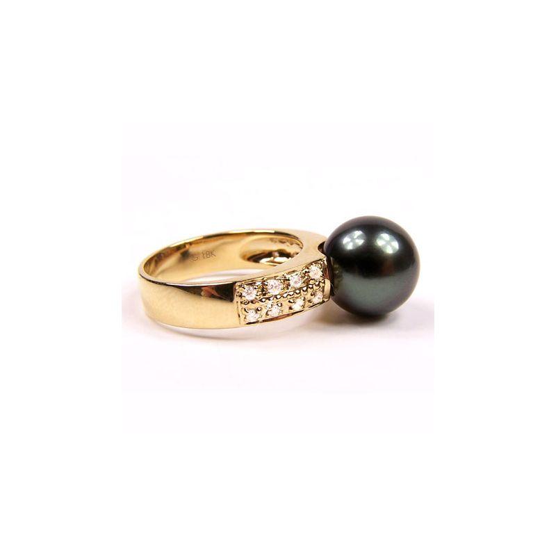 Anello Classico - Oro Giallo, Diamanti e Perla di Tahiti