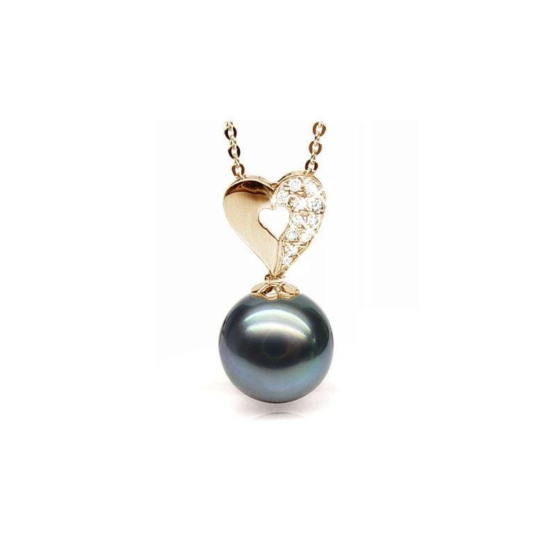 Pendentif en forme de coeur - Perle de Tahiti - Or jaune, diamants