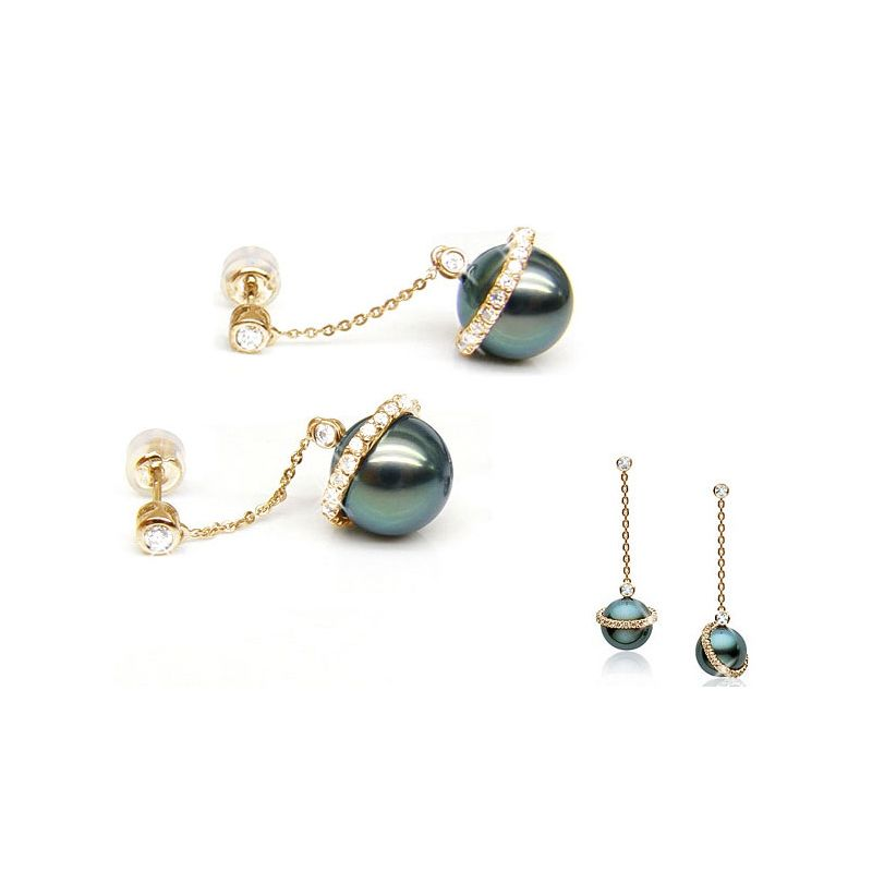 Orecchini corona - Pendenti oro giallo - Perle di Tahiti nere, blu - 9/10mm