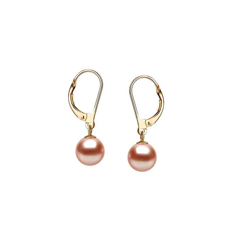Boucles d'oreilles or jaune 750/1000 montées de 2 perles roses 8/9mm