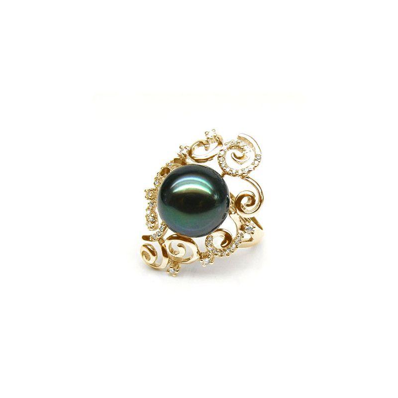 Anello Mindanao - Oro Giallo, Diamanti e Perla di Tahiti