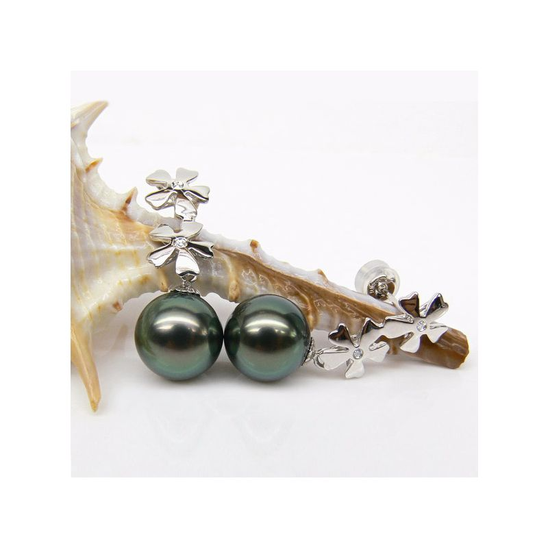 Orecchini Pendenti Aureolus - Perle di Tahiti Nere, Oro Bianco