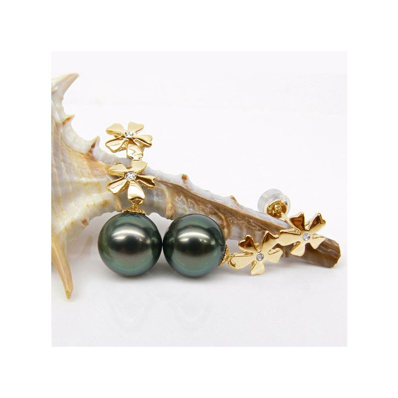 Orecchini Pendenti Navarro - Perle di Tahiti Nere, Oro Giallo