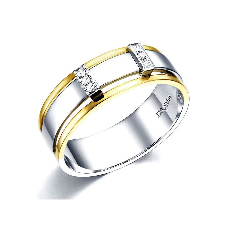 Bague or jaune et blanc Homme - 2 Ors 18cts, 6.50gr - 6 Diamants