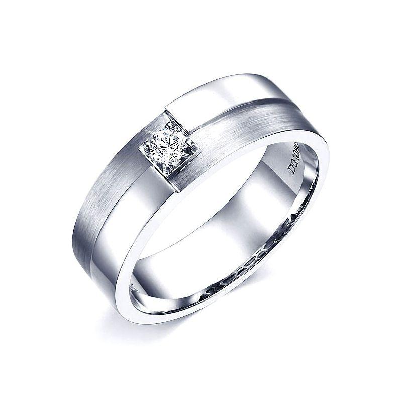 Bague or blanc et diamant pour homme - Style épuré, sobre et moderne