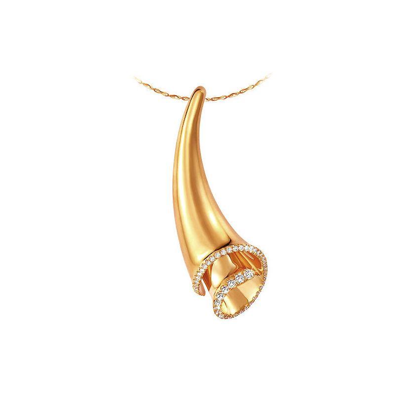 Pendentif coquille Triton or jaune - Légende mythologique - Diamants