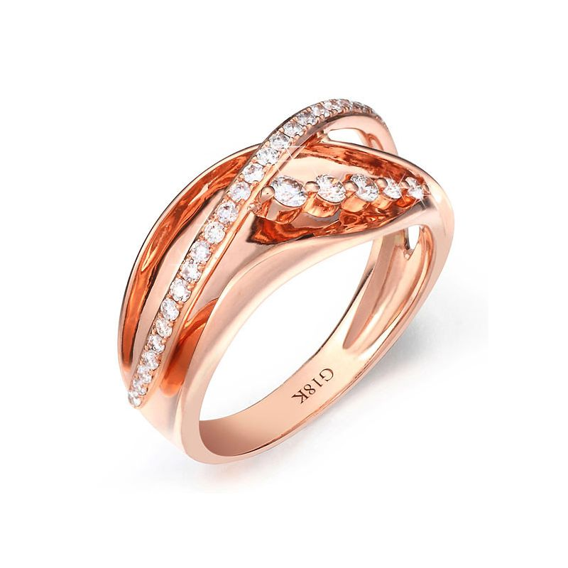 Fiançaille bague - Bague en or rose 18cts - 35 Diamants de 0.33ct