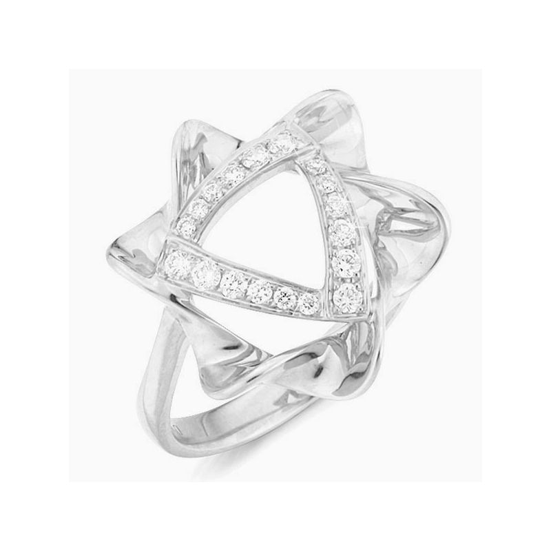 Bague étoile - Or blanc - Pavage diamants 0.21ct
