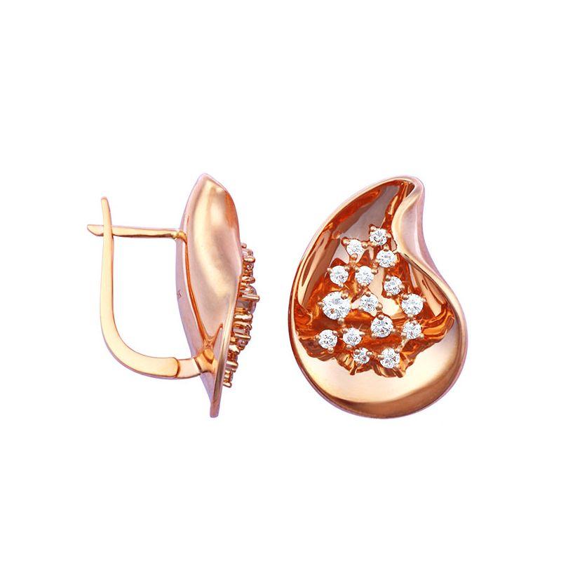 Boucles d'oreilles or rose - Diamants fixés en suspension 0.77ct