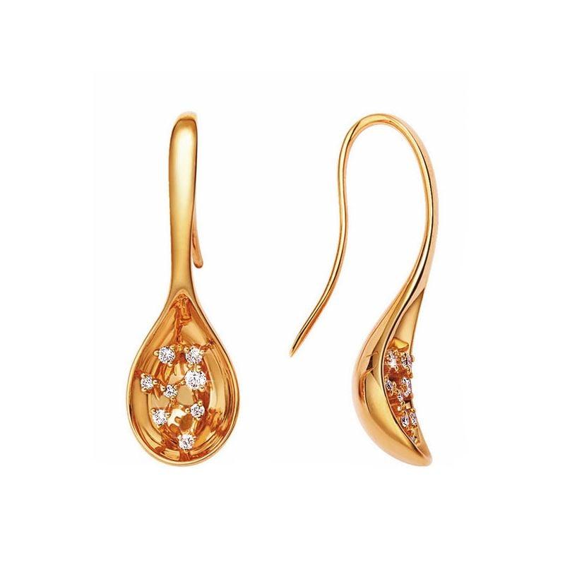 Boucles or jaune 18cts - Crochets diamants en forme de cuillères
