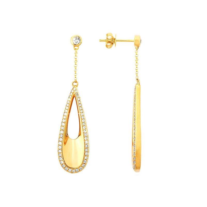Crochets d oreille or jaune en forme de gouttes d'eau - Diamants