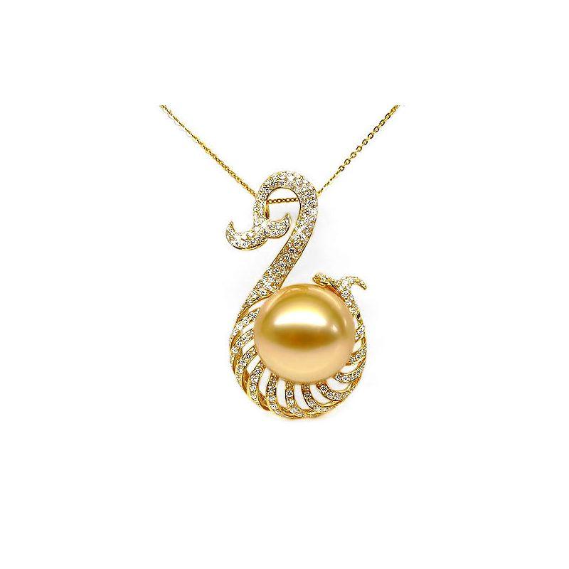 Pendentif faune aquatique - Perle d'Australie dorée - Or, diamants
