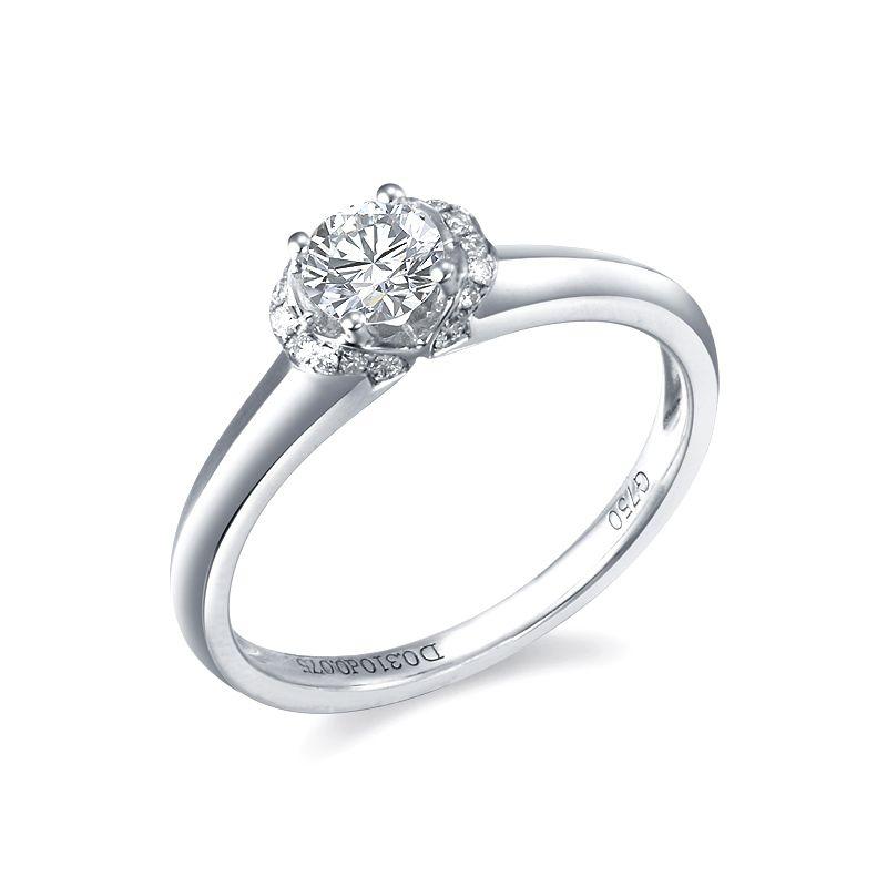 Anello di Fidanzamento Solitario Achille - Oro Bianco & Diamanti | Gemperles