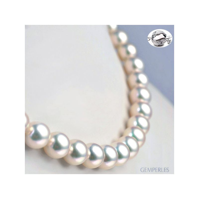 Collier luxe haute joaillerie - Perles fines Akoya Japon - 9/9.5mm