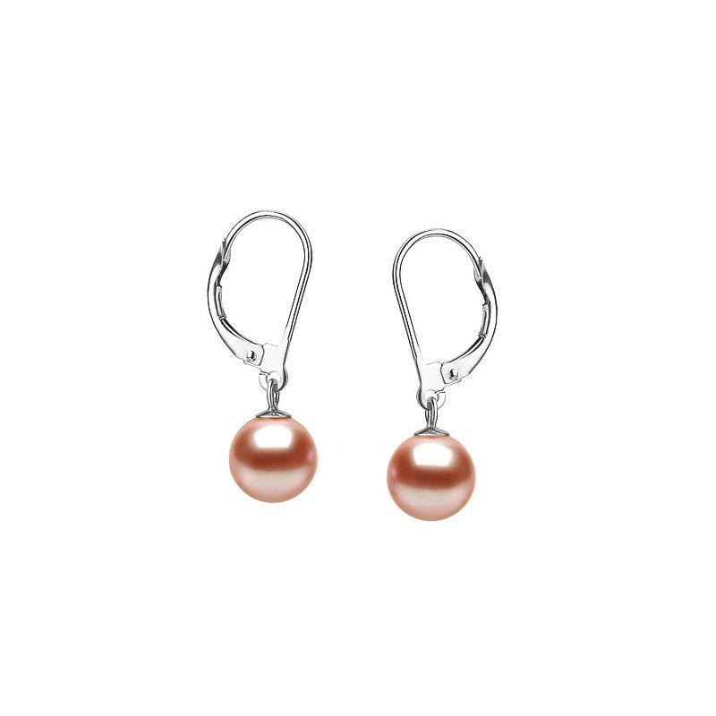 Dormeuse boucle d'oreille - Or blanc et perles eau douce roses 8/9mm