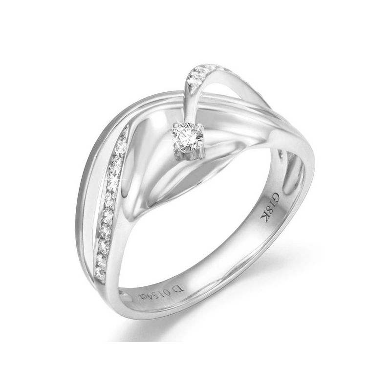 Bague or diamant - Or blanc 18 carats - Diamants 0.154ct
