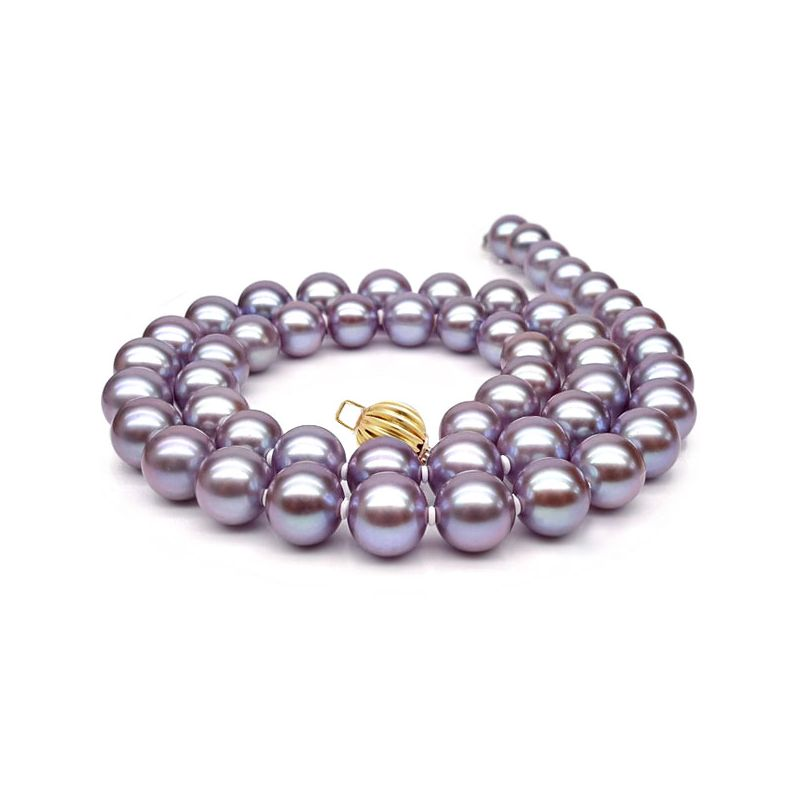 Collier perles lavandes. Perle culture eau douce 7.5/8mm