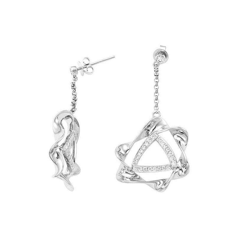 Paire de boucles d'oreilles pendants étoilées en or blanc - Diamants