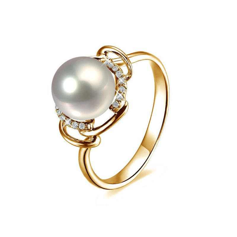 Bague contemporaine perle blanche - Or jaune 750/1000 et diamants