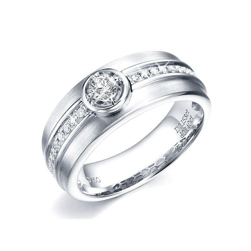 Bague Chevalière or Homme or blanc 750/1000. Diamant serti clos