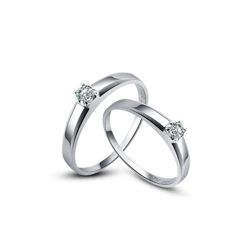 Alliances classique Couple. Solitaires Or blanc. Diamants