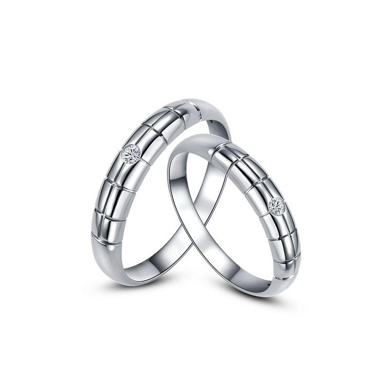 Alliances duo mariage - Quadrillage - Or blanc 750/1000, diamants