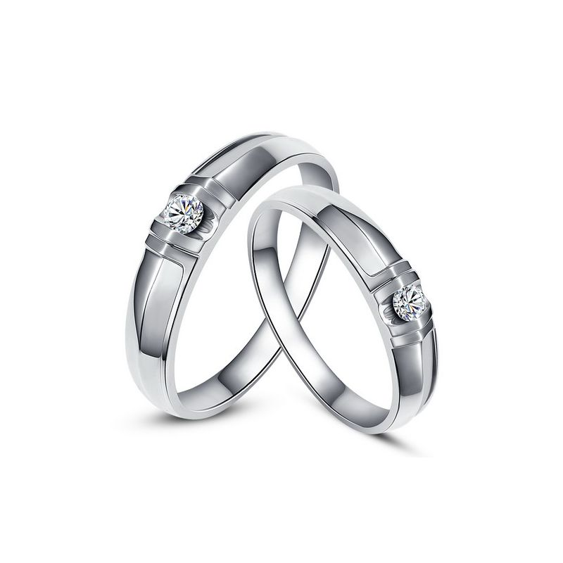 Alliances solitaires sophistiqués. Alliances duo. Or blanc, Diamants | Constance & Schubert