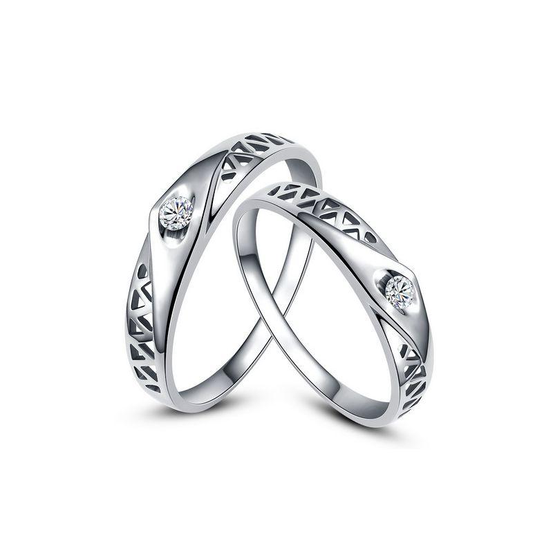 Alliances contemporaines -  Alliances Duo d'or blanc - Diamants