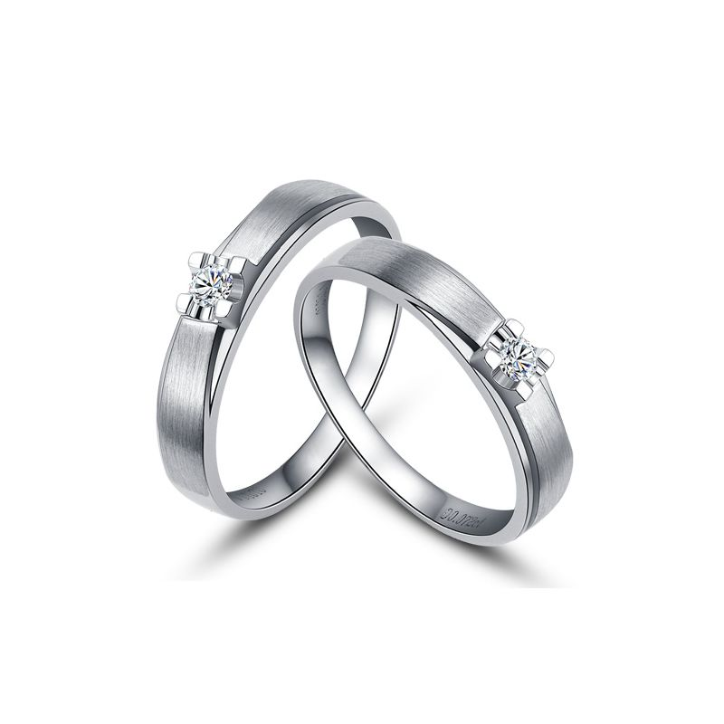 Alliances solitaires or - Alliances Duo - Or blanc - Diamants