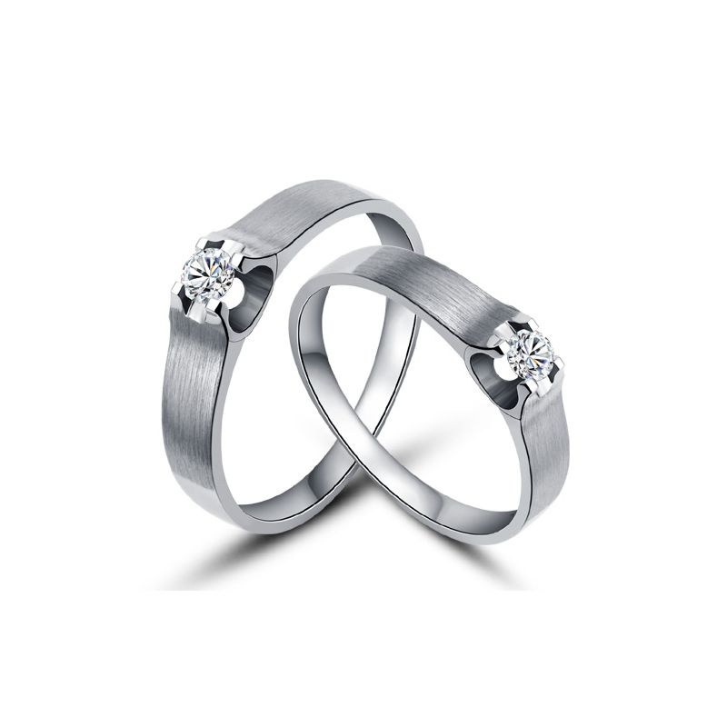 Alliances or blanc et diamants - Alliances solitaires pour Couple