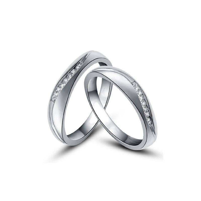 Alliances or mariage - Alliances diamants - Or blanc, Couple