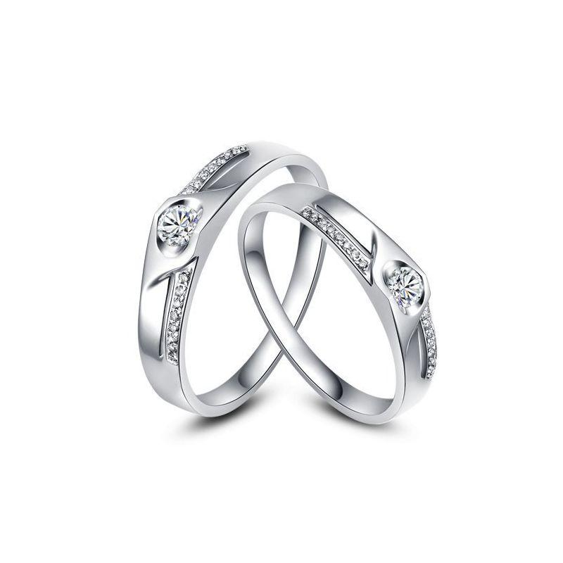 Alliances Duo solitaires diamants - Alliances modernes Or blanc 18cts