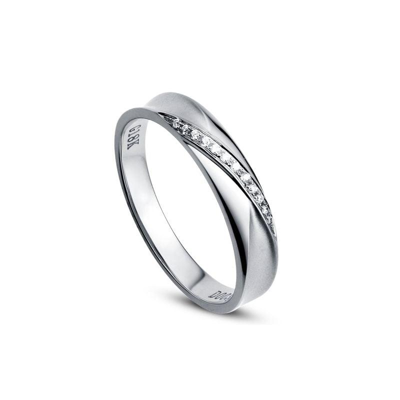 Fede Nuziale Donna Yavana - Oro Bianco 18kt e Diamanti VS/G
