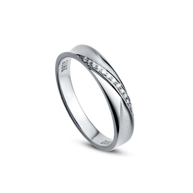 Alliance Femme. Platine. Diamants 0.029ct