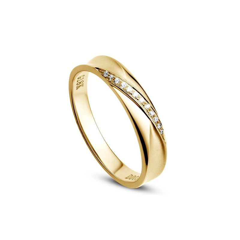 Alliance Femme en or jaune. Sertissage diamants 0.029ct