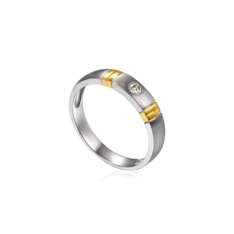 Alliance deux ors - Alliance diamant or blanc et jaune - Femme