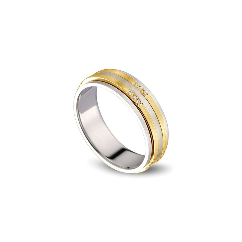 Alliance 2 ors Homme - Or blanc poli et jaune brossé - Diamants