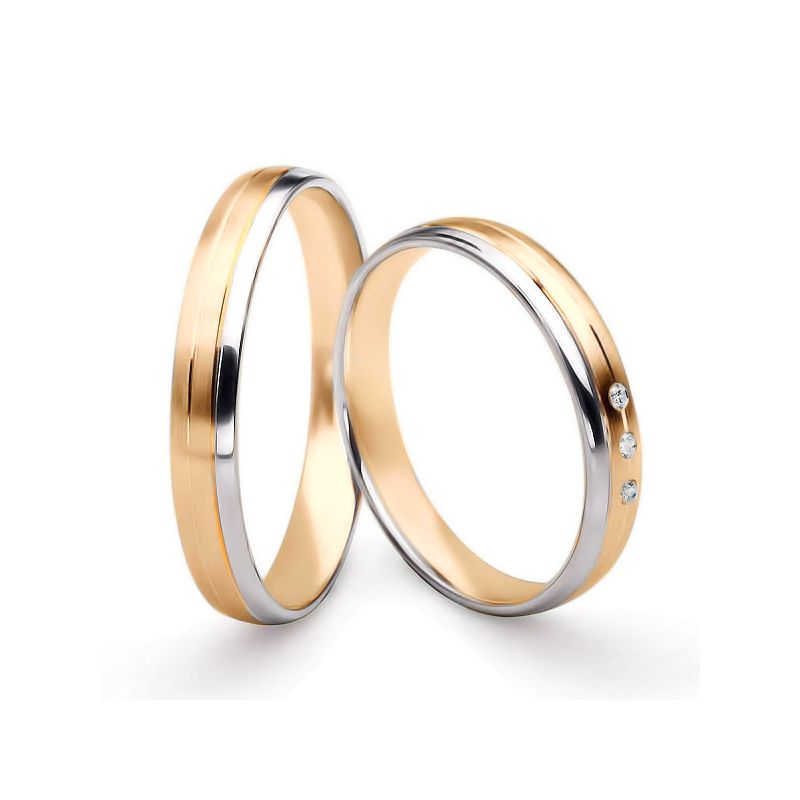Bijoux alliances mariage. Alliances couple. Or rose et blanc 18ct | Bergman & Gary