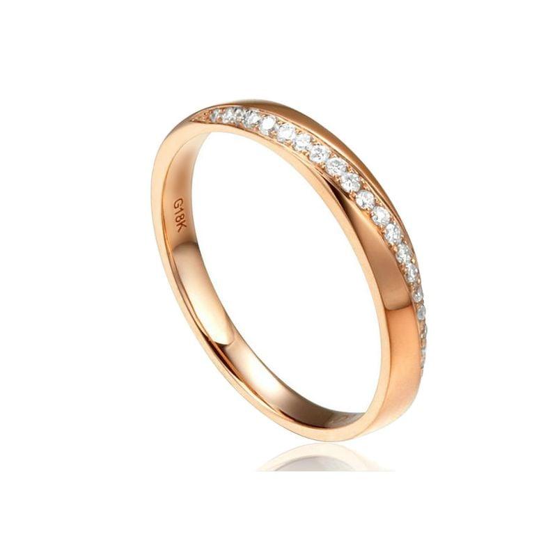Alliance Or rose 18cts, diamants. Sertissage formant une ondulation | Aurelia