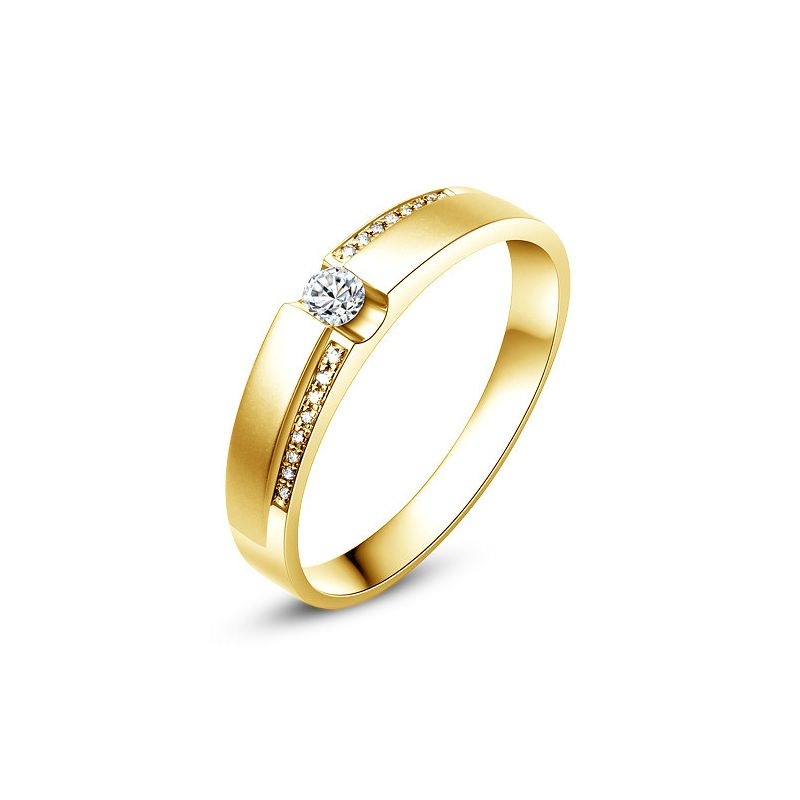 Alliance solitaire or jaune 750/1000 - Bague Homme diamants | Marley