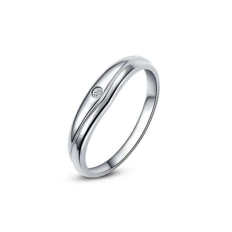 Modèle alliance mariage - Alliance classique Homme - Or blanc, diamant